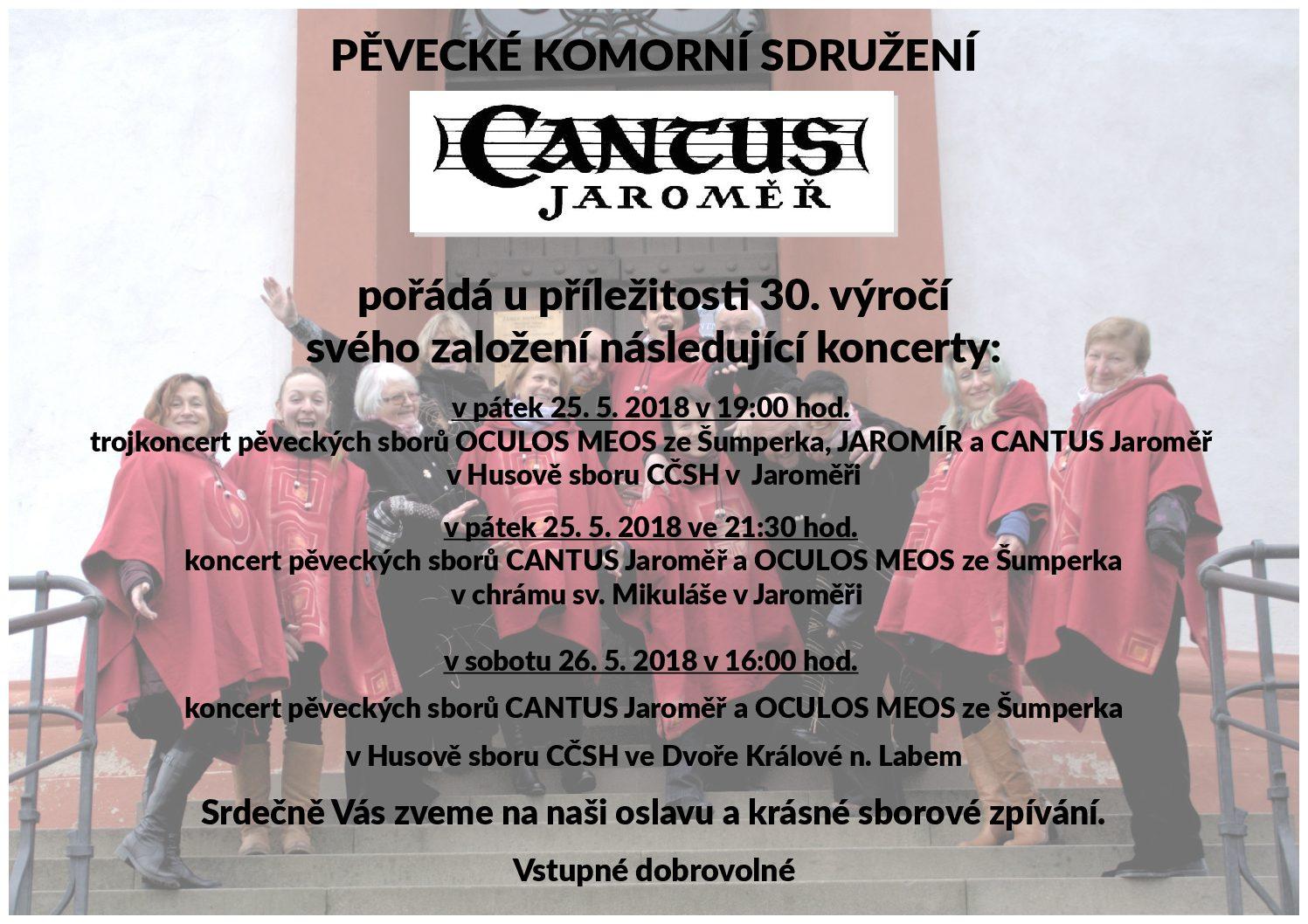 Cantus Jaroměř - 30. výročí založení